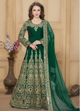 Splendid Booti Work Tafeta Silk Long Length Anarkali Salwar Suit