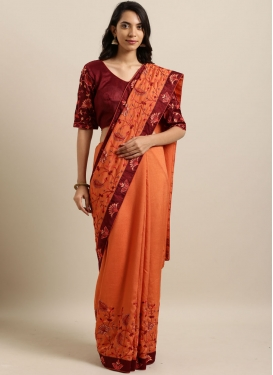 Splendid Orange Faux Georgette Classic Designer Saree