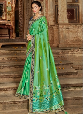 Staggering Banarasi Silk Embroidered Traditional Saree