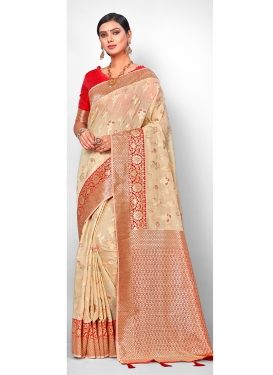 Staring Beige Weaving Traditional Saree