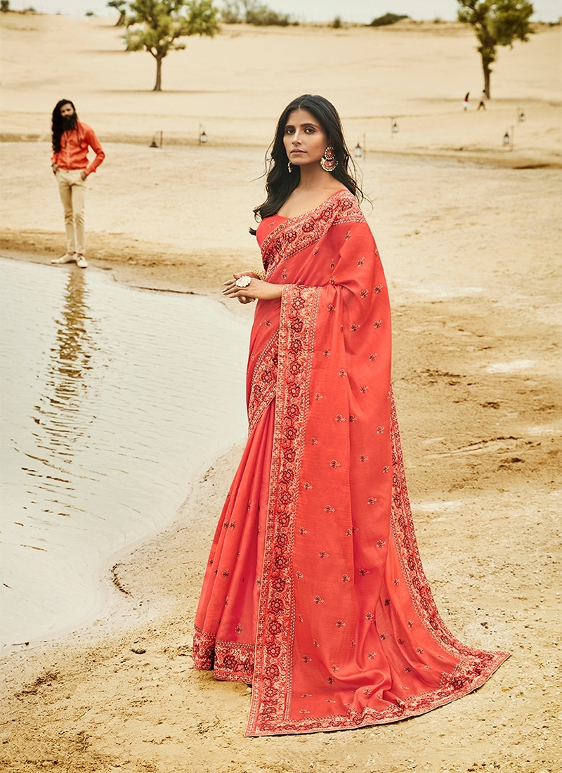 Sterling Art Silk Embroidered Salmon Traditional Saree