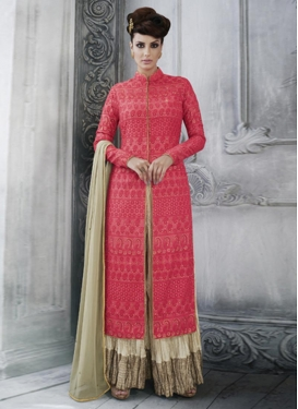 Sterling Tussar Silk Embroidered Work Designer Palazzo Salwar Kameez