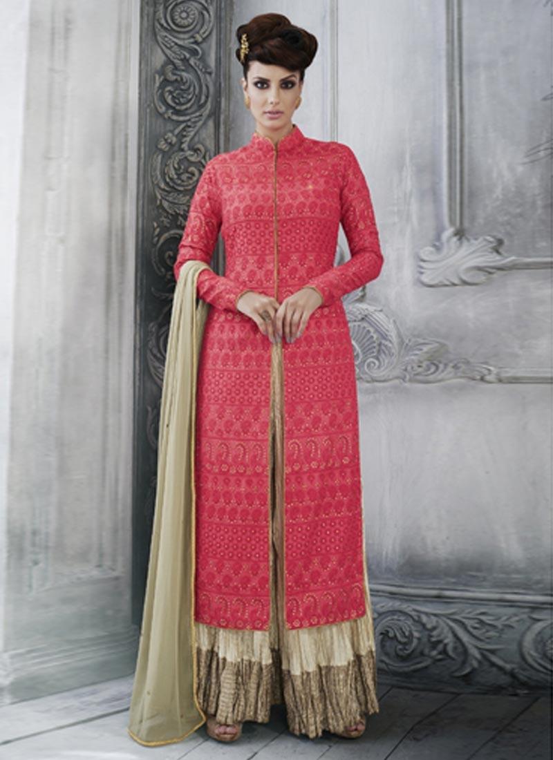Sterling Tussar Silk Embroidered Work Designer Palazzo Salwar Kameez
