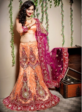 Sterling Resham Net Orange Designer Lehenga Choli