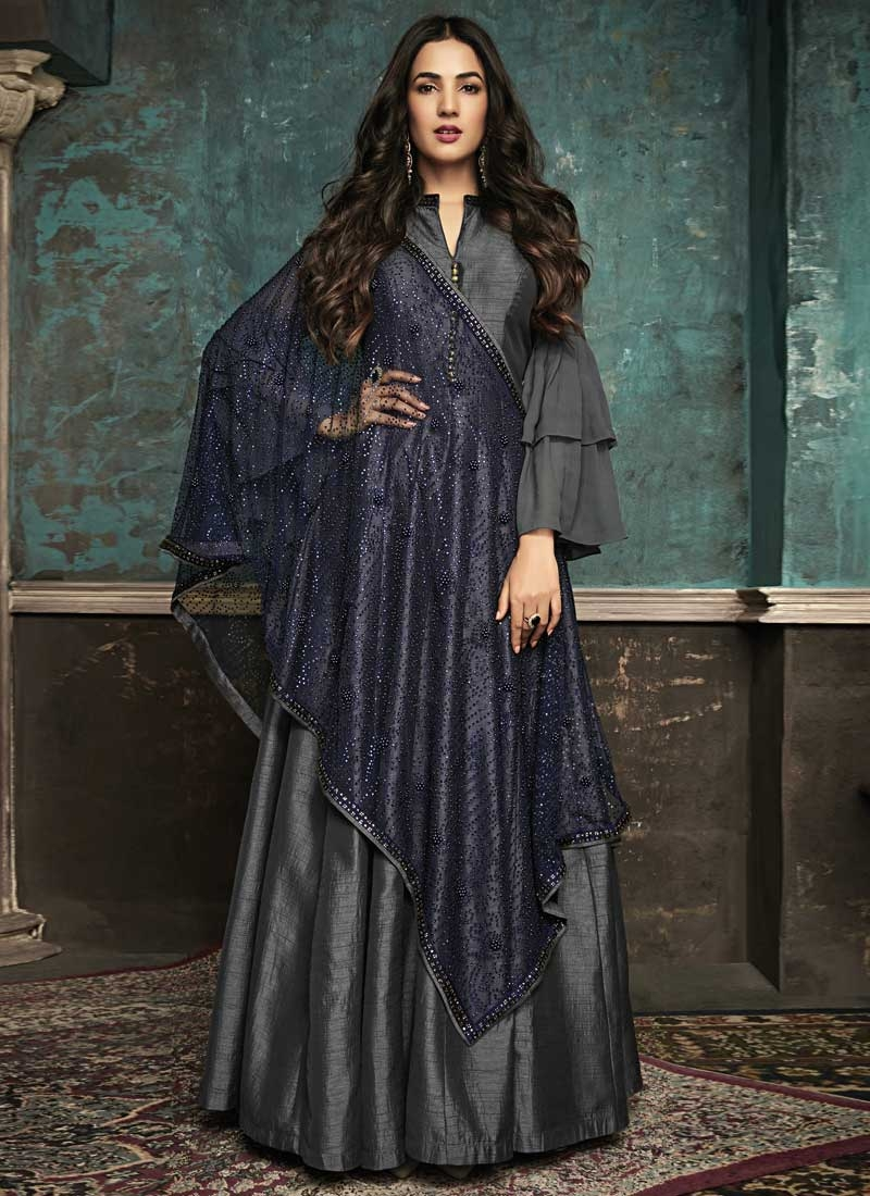 Stone Work Art Silk Long Length Designer Suit