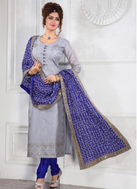 Stone Work Blue and Grey Chanderi Silk Readymade Churidar Suit