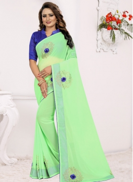 Stone Work Blue and Mint Green Designer Traditional Saree