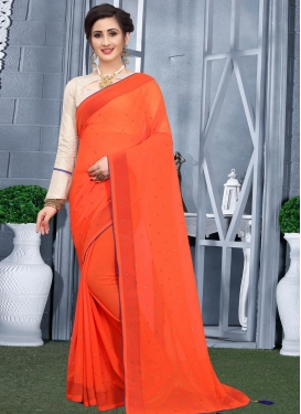 Stone Work Faux Georgette Designer Contemporary Saree