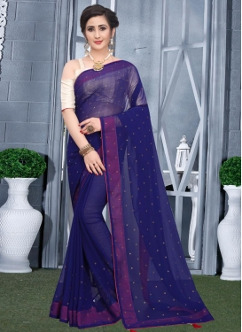 Stone Work Faux Georgette Traditional Designer Saree For Casual
