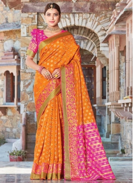 Stone Work Handloom Silk Designer Traditional Saree For Ceremonial