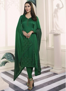 Stone Work Satin Georgette Pakistani Straight Salwar Kameez