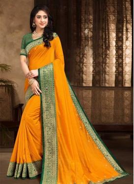 Stone Work Vichitra Silk Designer Contemporary Style Saree For Casual