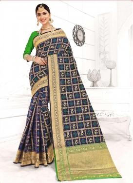 Strange Weaving Art Silk Navy Blue Designer Traditional Saree