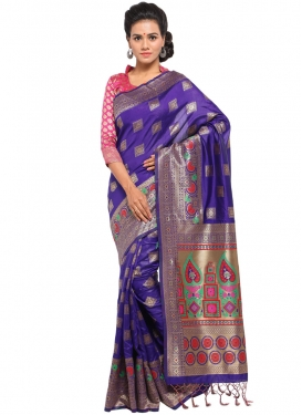 Striking Art Silk Blue Designer Traditional Saree