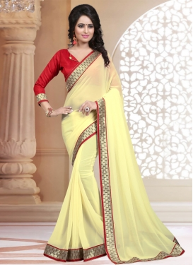 Striking Cream Color Faux Georgette Casual Saree