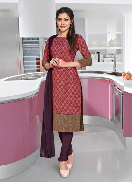 Striking Crepe Silk Multi Colour Churidar Suit