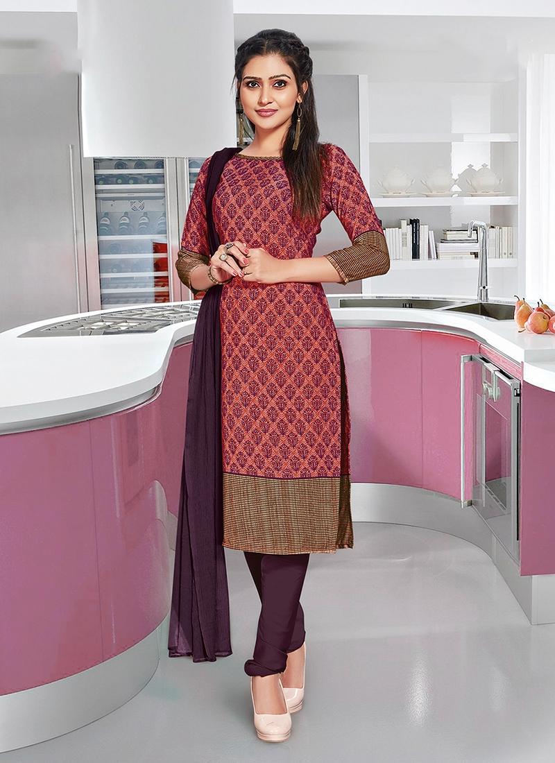 Striking Crepe Silk Multi Colour Churidar Suit