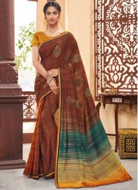 Striking Print Brown Art Silk Classic Saree