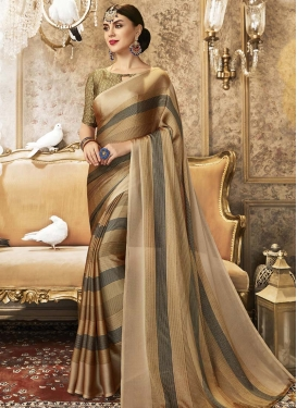 Strips Print Work Designer Contemporary Style Saree