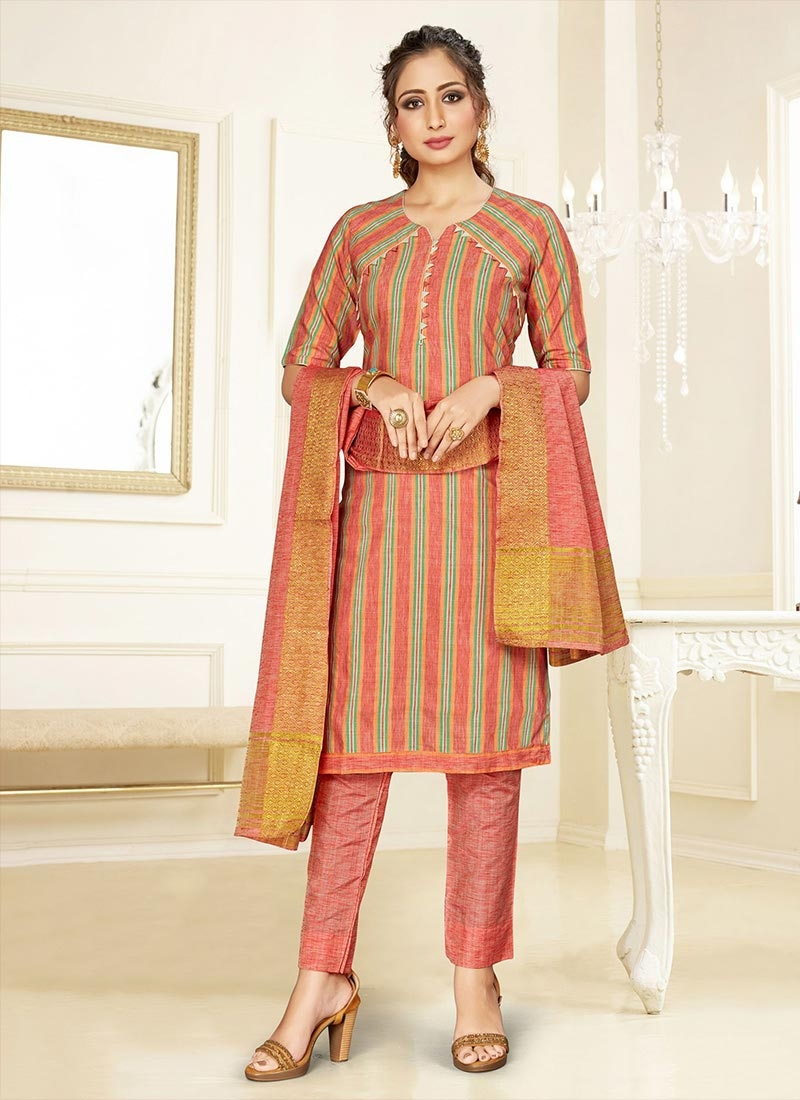 Strips Print Work Pant Style Classic Salwar Suit