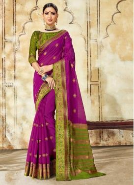 Stunning Cotton Silk Purple Traditional Saree