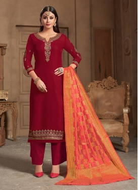 Stunning Embroidered Designer Straight Salwar Suit