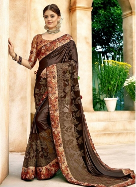 Stupendous Coffee Brown Net Classic Designer Saree