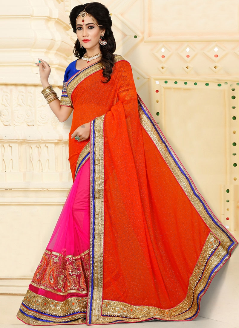 Stupendous Orange Half N Half Saree For Ceremonial