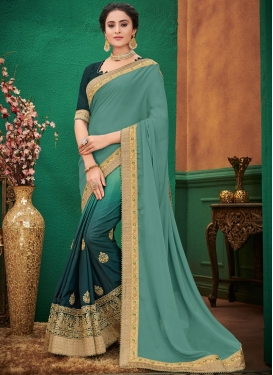 Stupendous Patch Border Art Silk Sea Green Shaded Saree