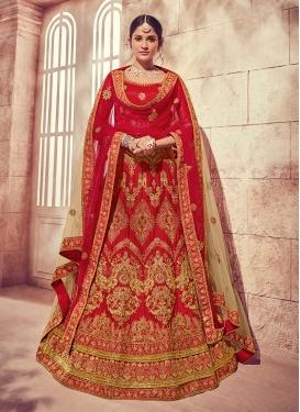 Stylish Red Embroidered Silk Designer Lehenga Choli