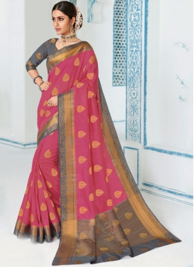 Stylish Weaving Rose Pink Traditional Saree