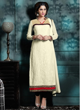 Subtle Off White Long Length Pakistani Suit