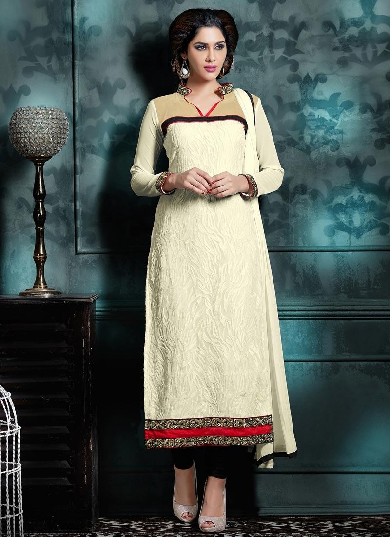 Subtle Off White Long Length Pakistani Suit
