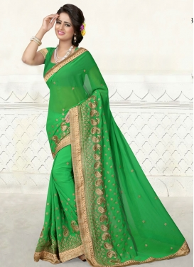 Sumptuous Embroidery Work Party Wear Saree