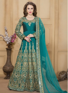Sumptuous Tafeta Silk Floor Length Anarkali Salwar Suit