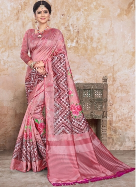 Sunshine Art Silk Salmon Printed Saree