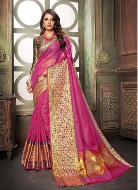 Sunshine Cotton Silk Weaving Hot Pink Designer Saree