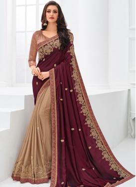 Superb Embroidered Designer Half N Half Saree