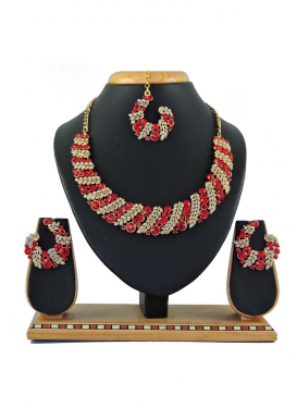 Superb Gold Rodium Polish Stone Work Alloy Red and White Necklace Set For Party