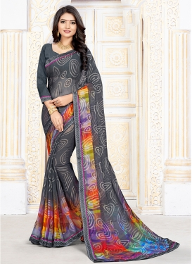 Superlative Grey Printed Printed Saree