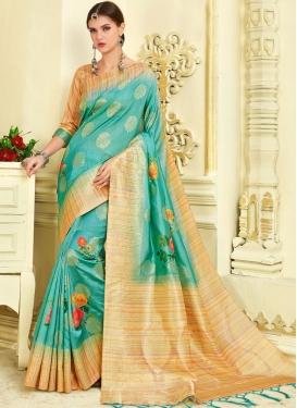 Superlative Turquoise Traditional Saree