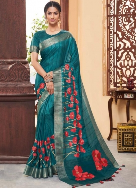 Surpassing Art Silk Teal Print Classic Designer Saree