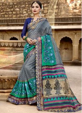 Surpassing Net Print Multi Colour Printed Saree