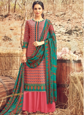 Swanky Abstract Print Pink Cotton Designer Palazzo Suit