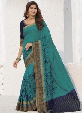 Swarovski Work Aqua Blue and Navy Blue Traditional Designer Saree