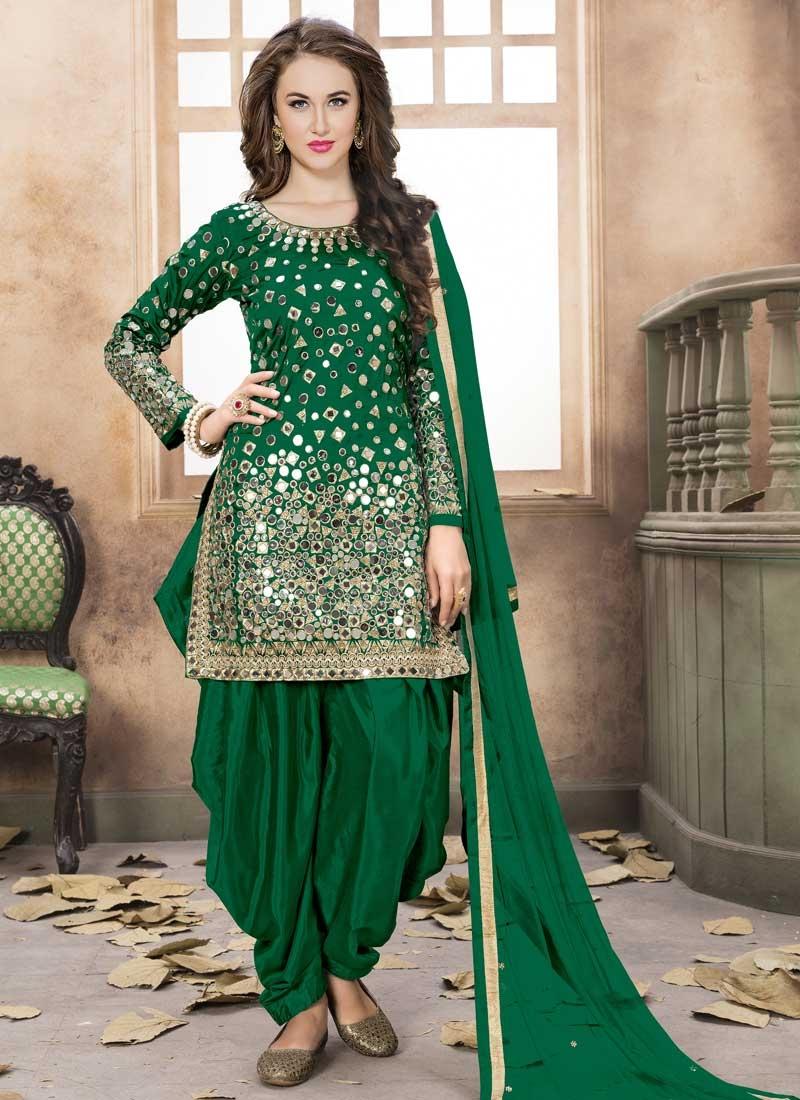 Tafeta Silk Designer Semi Patiala Salwar Suit