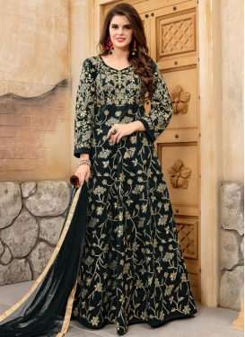 Tafeta Silk Embroidered Work Anarkali Salwar Kameez