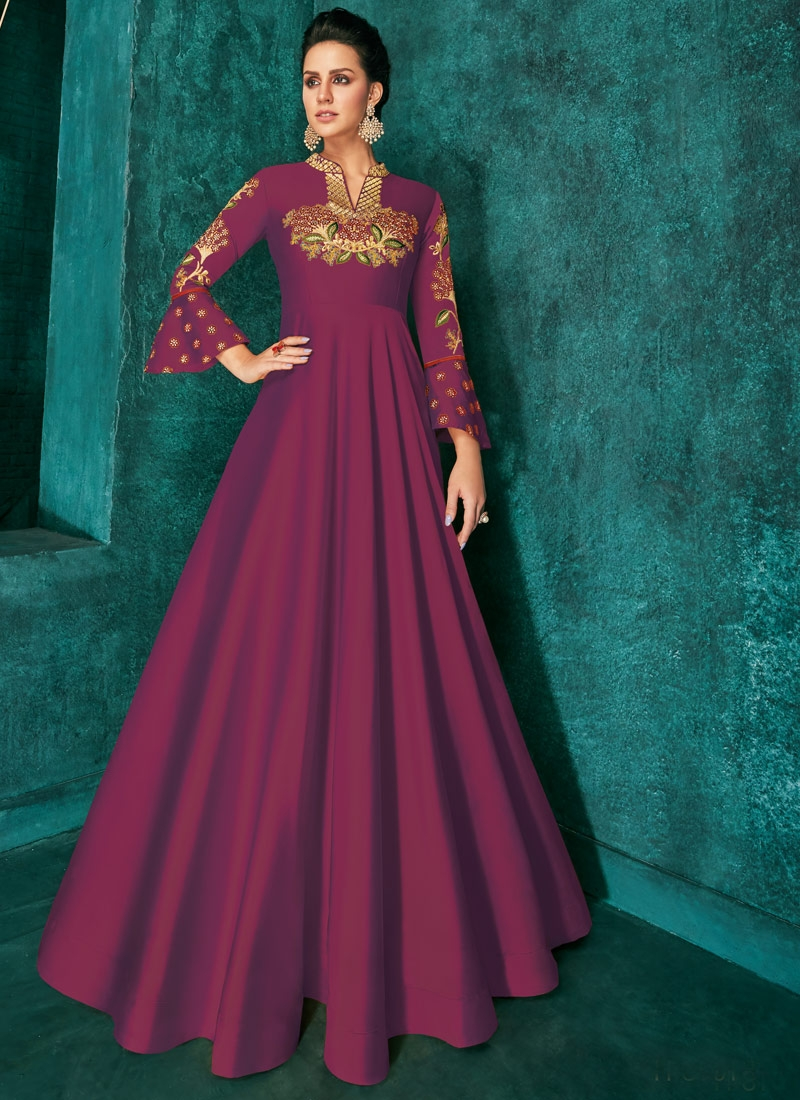 Tafeta Silk Embroidered Work Readymade Floor Length Gown