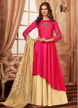 Tafeta Silk Embroidered Work Readymade Layered Gown