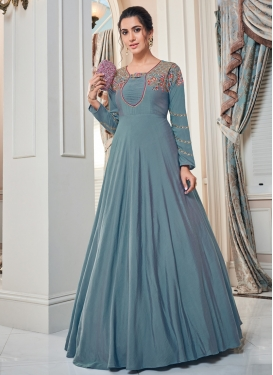 Tafeta Silk Embroidered Work Readymade Long Length Gown